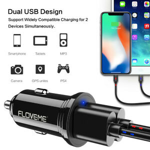 FLOVEME-USB-Car-Charger-Dual-2-USB-Smart-Port-Fast-Car-Charger-12W-2-4A
