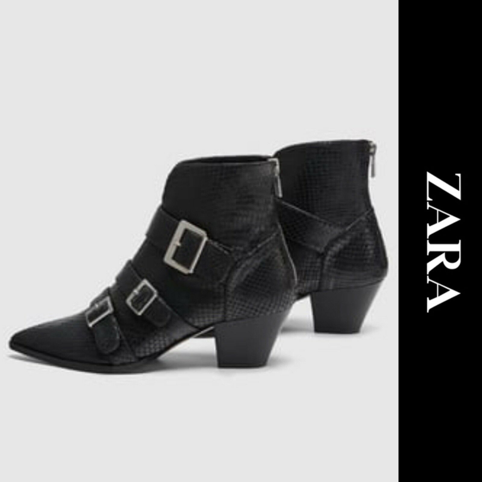 Zara SS18 Leather Ankle Boots with Straps 1120/301 Size 36 US 6