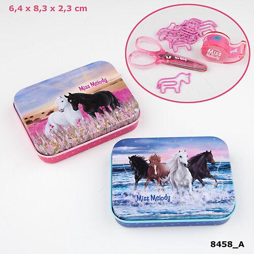 MISS MELODY Mini-Schreibtisch-Set Schere Clips Tape Metalldose Schule Pferde