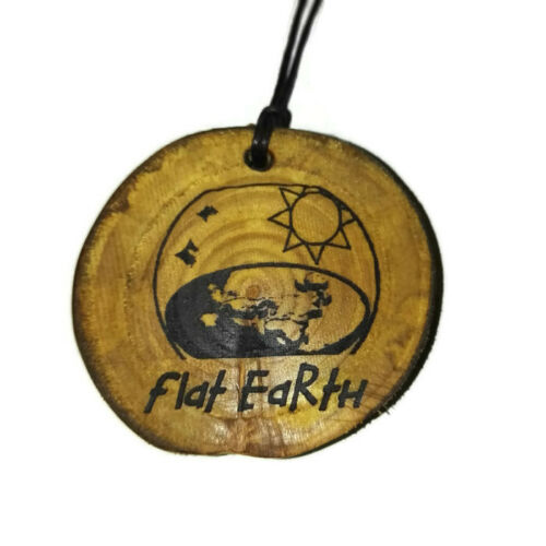 Flat Earth Society Handmade Wooden Engraved Necklace Charm Pendant #FlatEarther