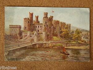 Vintage-Postcard-Conway-Castle-Wales-Salmon-1948-Artist-A-R-Quinton