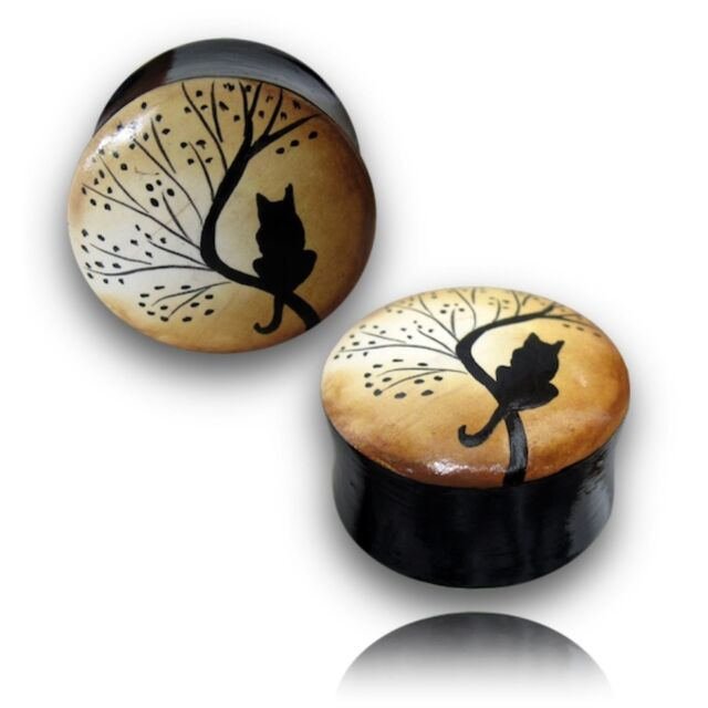 "PAIR OF 5/8"" INCH (16MM) HAND PAINTED WOOD PLUGS TUNNELS PLUG GOTHIC CAT GAUGES"