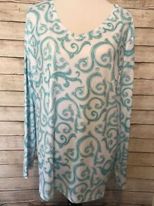 Coral-Bay-Energy-Active-Blue-Paisley-Print-Long-Sleeve-Top-Shirt-Women-s-Size-XL