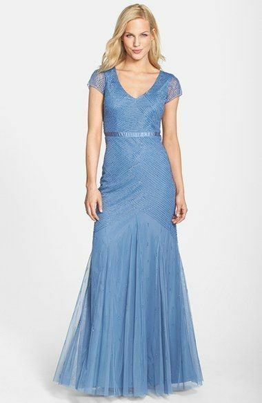360 Adrianna Papell Beaded Mesh CAP SLEEVE  Gown blueE PROM WEDDING FORMAL