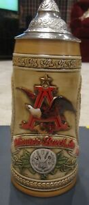 """Anheuser Busch Budweiser Lidded Beer Stein Limited Edition """"A"""" Series Numbered"""