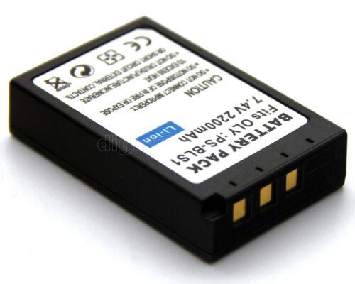 2x 7.4v 2200mAh Li-Ion Batería Para Olympus BLS-1 E-400 E-420 E-450 E-600 E-620