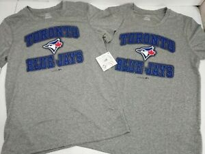Youth-Toronto-Blue-Jays-T-Shirt-Lot-of-2-Wicking-Size-Large-14-16-Gray-New-NWT