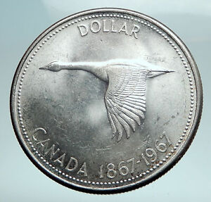 1967-CANADA-CANADIAN-Confederation-Founding-with-Goose-Silver-Dollar-Coin-i82487