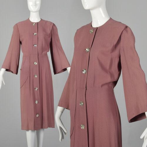 XXS 1940s Day Dress Mauve Button Front Vintage Bel