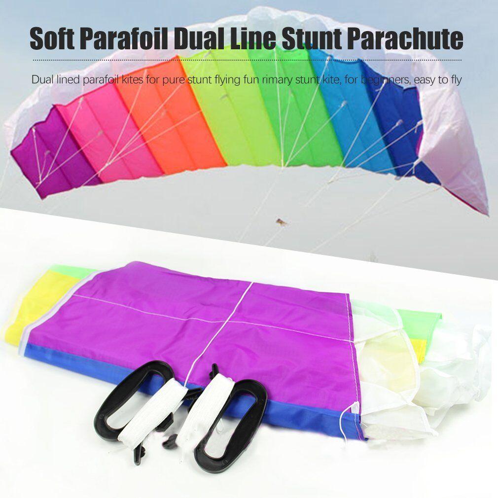 Super Stunt Parafoil Rainbow Kite 1.2m or 1.4m With 30m Dual Line