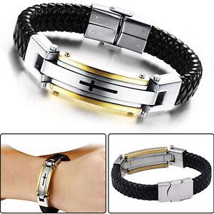 Fuer-Herren-Stainless-Steel-Kreuz-Schwarz-Geflochtenes-Lederarmband-Armband
