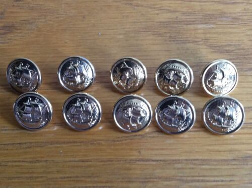 GOLD SAILING SHIP NAUTICAL MILITARY STYLE RARE SMALL BUTTONS X 10 NEW