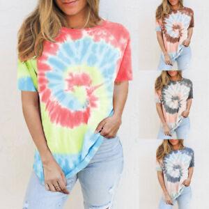 Women-Tie-dye-Printed-Short-Sleeve-O-Neck-Casual-Tops-T-shirt-Summer-Blouse-Ceng