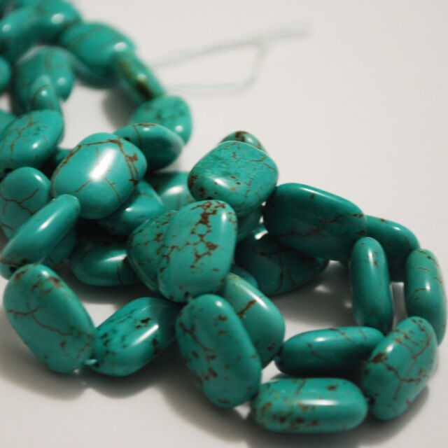 10 x Chinese Turquoise Rectangle / Square Beads 16mm x 12mm