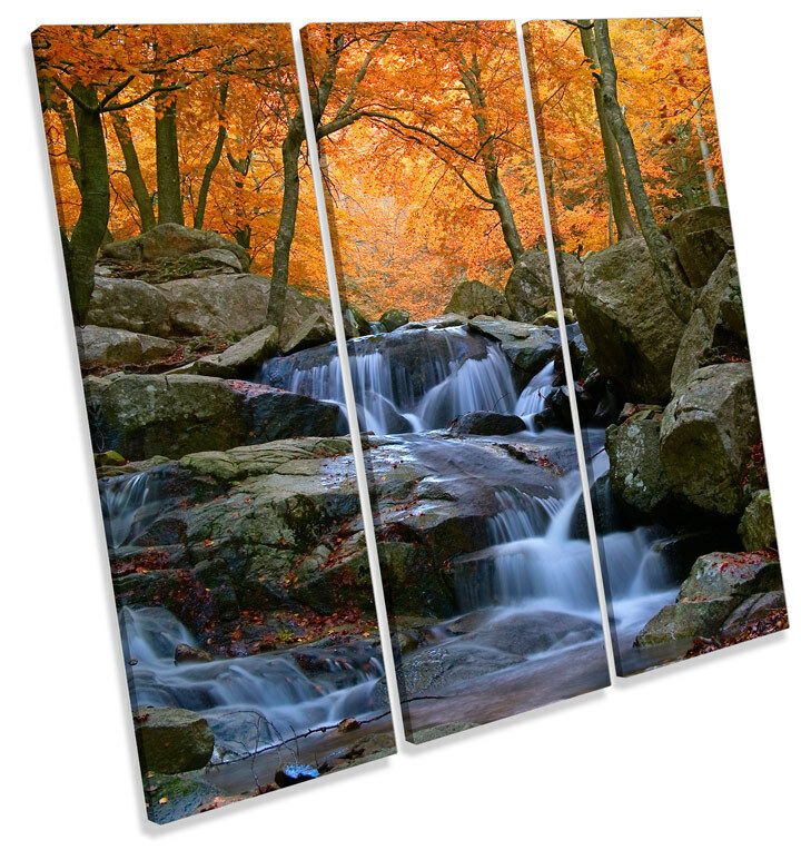 Natural Waterfall River Landscape TREBLE CANVAS WALL ART Square Picture Print
