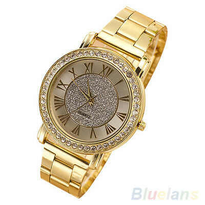 Classic Chic Men's Retro Gold Plated Crystal Business Casual Alloy Wrist Watch