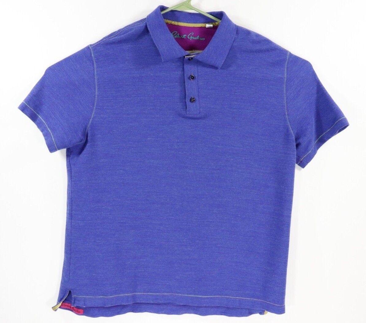 Robert Graham Men's bluee Classic Fit Short Sleeve Polo 2XL Shirt