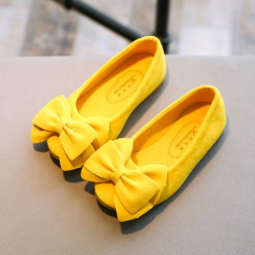 Children Kid Baby Girls Solid Bowknot Student Single Soft Dance Princess Shoes U
