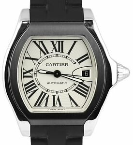 Men-039-s-Cartier-Roadster-Silver-Automatic-3312-Black-Rubber-40mm-Roman-Dial-Watch