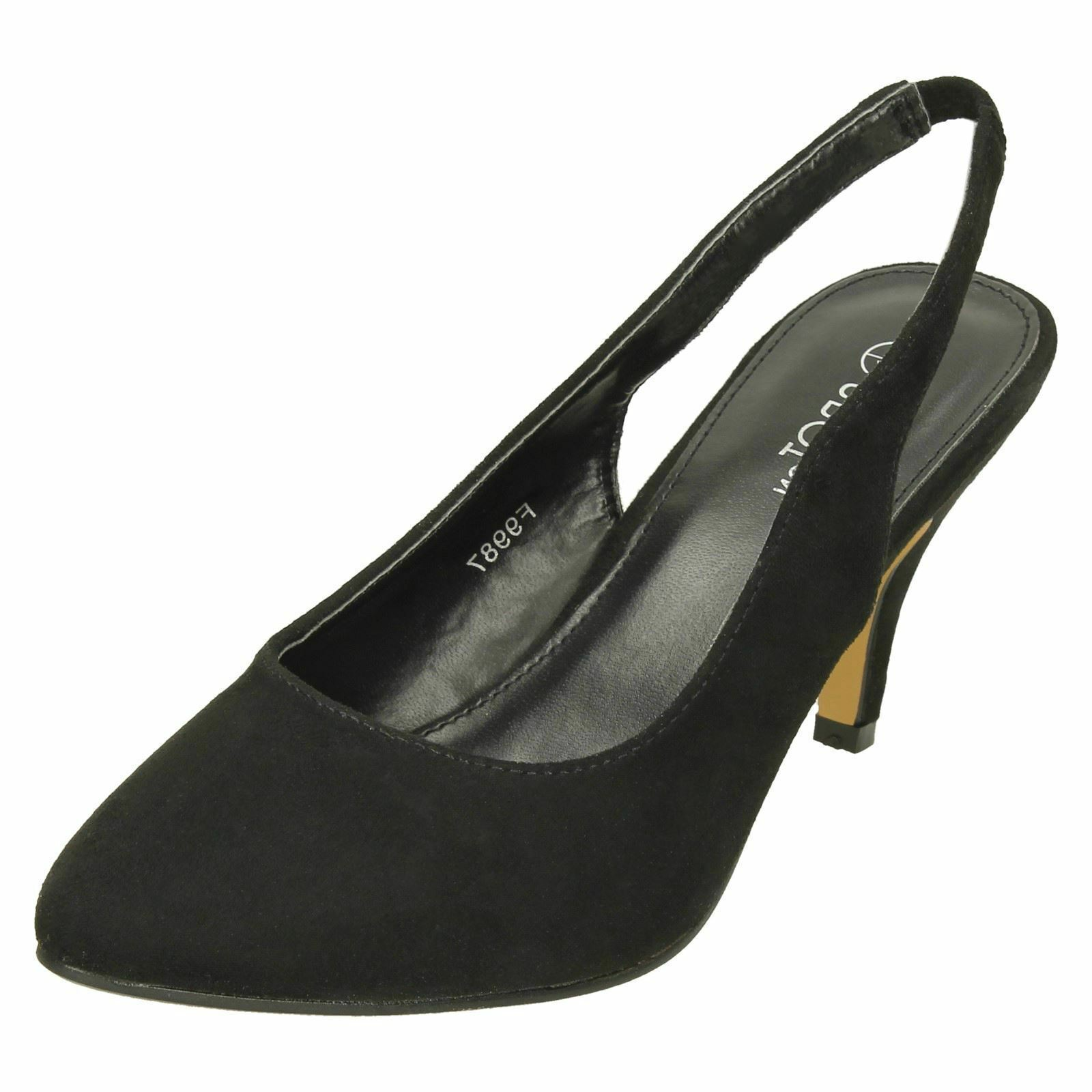 3eb9b35fa81 Ladies Spot on Mid Heel Slingback Court Shoes F9987 Black UK 6 ...