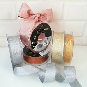 Copper Metallic Lame Ribbon by Berisfords Widths 3 7 15 25  40mm Christmas