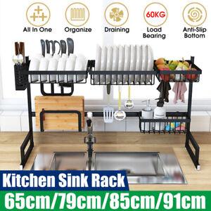 Over-Sink-Dish-Drying-Rack-Drainer-Stainless-Steel-Kitchen-Utensils-Holder-Shelf