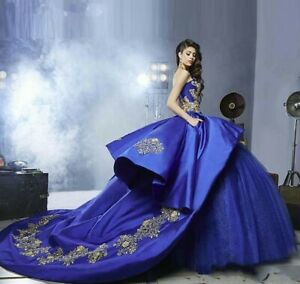 Gold Appliques Satin Royal Blue Quinceanera Dresses 2021Puffy Ruffles Ball Gown