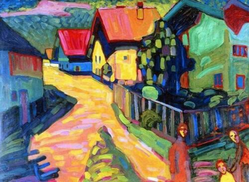 Murnau Street With Women by Wassily Kandinsky Painting Paint By Numbers Kit DIY