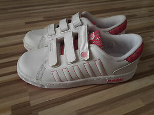 GIRLS K-SWISS VELCRO TONGUE TWISTER TRAINER WHITE LEATHER