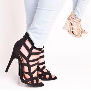 a7af363ef023 Ladies Womens High Heel Zip Up Party Gladiator Ankle Sandal Caged ...