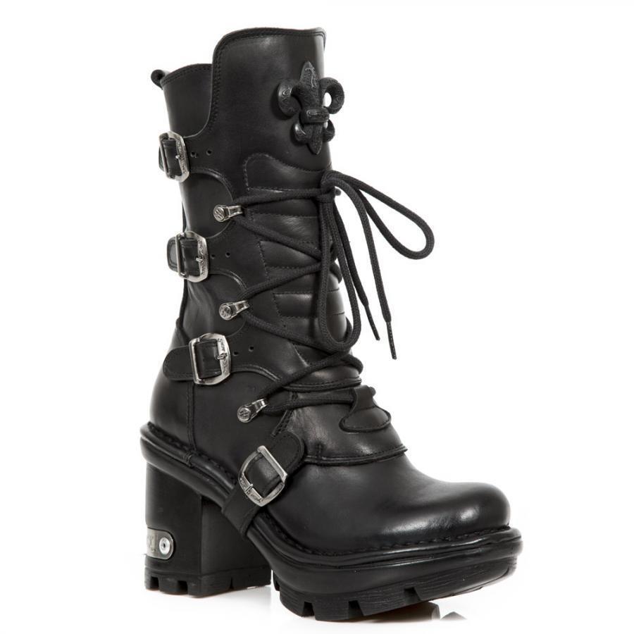 Los últimos zapatos de descuento para hombres y mujeres Bota Tacón Mujer PIEL NEW ROCK Tacón Bota NEGRO Interior rojo Hebillas  M.NEOTYRE05-S1 350181
