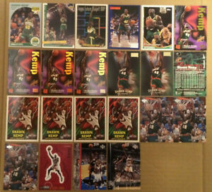 Shawn-Kemp-LOT-of-22-rookie-insert-parallel-cards-NM-1990-1997-RC-Sonics-reebok