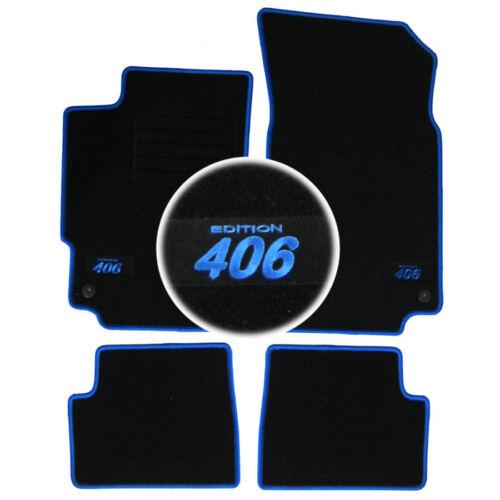 4 TAPIS SOL PEUGEOT 406 BERLINE /& SW /& COUPE MOQUETTE LOGO BLEU SPECIFIQUE