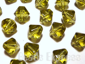 40pc-8mm-Crystal-Glass-Bicone-Beads-Olive-Green-BB8009