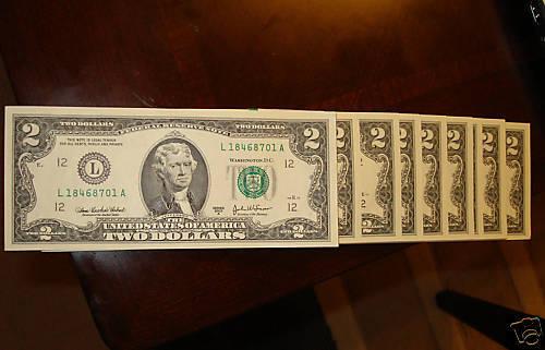 "TEN 2003A $2 /""L/"" or /""J/"" or 2003 $2 /""I/"" Consecutive #/'s"