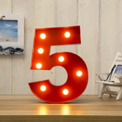 LED CARNIVAL BIRTHDAY CELEBRATION ANNIVERSARY LARGE 33CM RED METAL NUMBER 5
