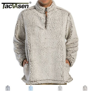 Men-1-4-Zip-Sherpa-Pullover-Sweater-Shirt-Fleece-Jacket-Man-Cardigan-Jacket-Coat
