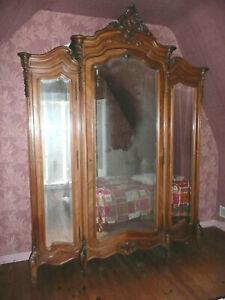 Armoire Style Louis Xv 3 Portes à Glaces Fin 19 Siècles Placage De Noyer Pure Blancheur