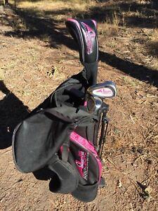 AccuLength-Expandable-Junior-Golf-Club-Set-w-Matching-Bag-Pink-Kids-Adjustable