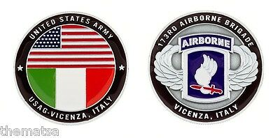 "USAG VICENZA ITALY ARMY 173RD AIRBORNE  MILITARY 1.75"" CHALLENGE COIN"