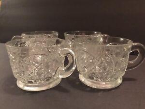 1950s Miniature Glass Punch Bowl /& Glasses Set Germany