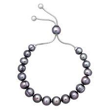 Honora 7-10 Mm Freshwater Black Pearl Bolo Slider Bracelet in Stainless Steel