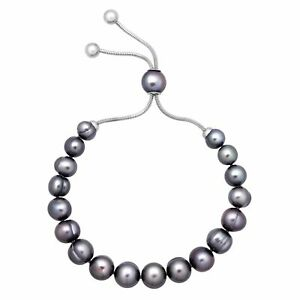 Honora-7-10-mm-Freshwater-Black-Pearl-Bolo-Slider-Bracelet-in-Stainless-Steel