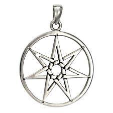 Large Sterling Silver Septagram Heptagram Fairy Faerie Star Pendant Jewelry