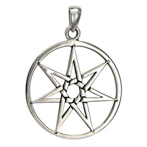Large sterling silver septagram heptagram fairy faerie star pendant image is loading large sterling silver septagram heptagram fairy faerie star aloadofball