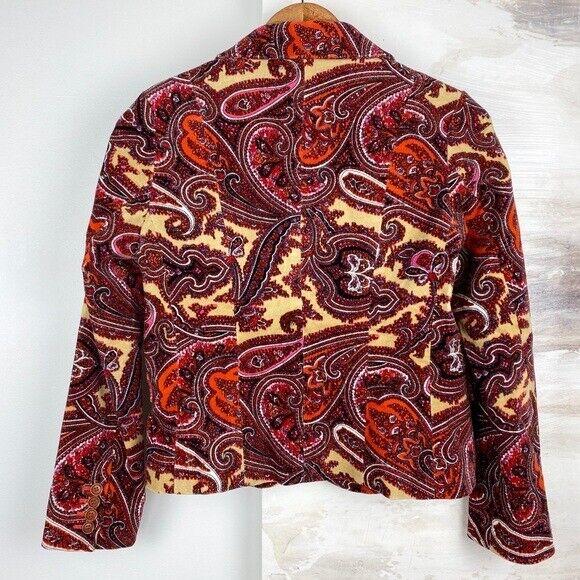 Talbots Paisley Stretch Velvet Red Blazer   70's … - image 3