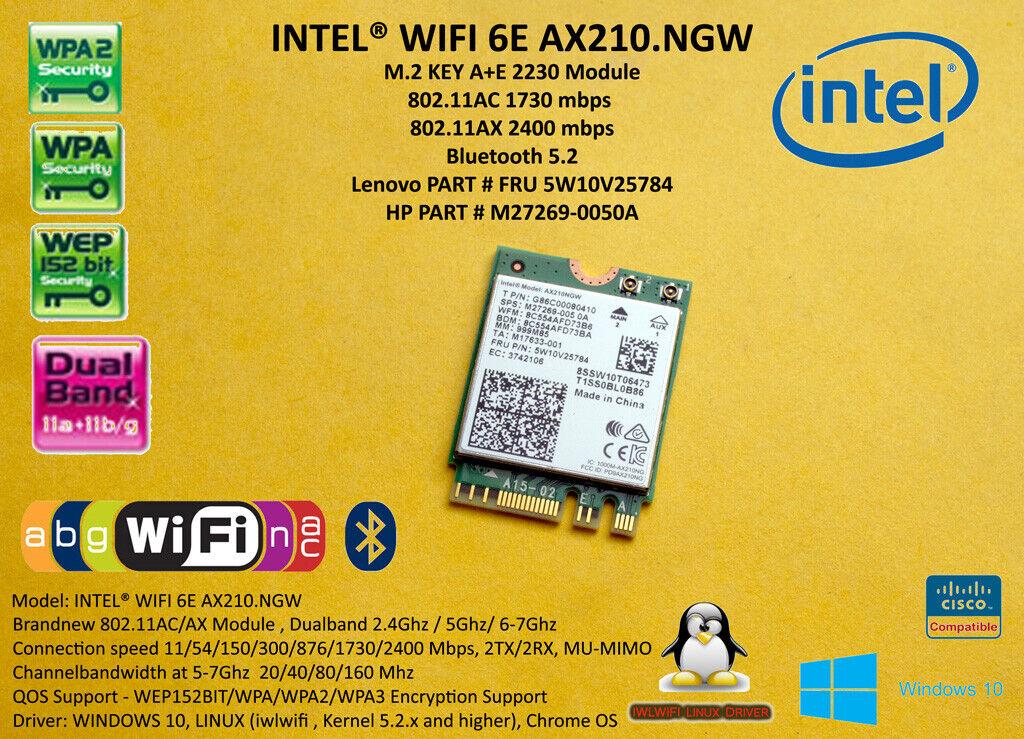 Intel Wireless AX210. ngwg. NV NGFF M.2 WiFi 6E 2400 Mbps Bluetooth 5.2