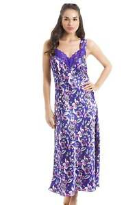 Camille-Womens-Ladies-Luxury-Long-Pink-Floral-Print-Purple-Lace-Satin-Chemise