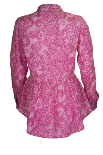 BRAND NEW COTTON CLUB PAISLEY LONG SLEEVE BUTTON UP SHIRT BLOUSE SIZE 8-14