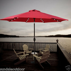 9ft solar powered 32 led light outdoor patio umbrella with. Black Bedroom Furniture Sets. Home Design Ideas